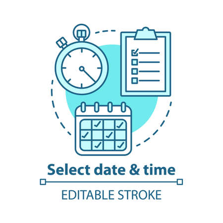 Select date and time concept icon. Choose day, hour thin line illustration. Making reservation. Time management, scheduling. Calendar, stopwatch. Vector isolated outline drawing. Editable stroke