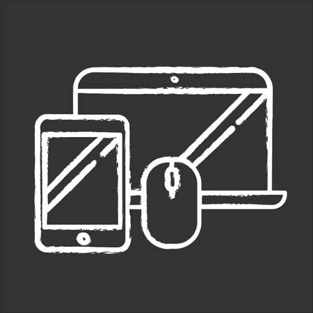 Electronics and accessories chalk icon. Smartphone and laptop. Computers and other devices. E commerce department, online shopping categories. Isolated vector chalkboard illustration Ilustração