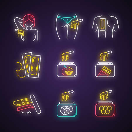 Waxing neon light icons set. Armpit, buttocks, back, brow hair removal. Natural fruit, sugar wax in jar. Cold depilation strips. Professional cosmetics. Glowing signs. Vector isolated illustrations