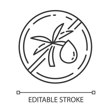 Palm oil free linear icon. Organic food without saturated fats. Product free ingredient. Thin line illustration. Contour symbol. Vector isolated outline drawing. Editable stroke Vettoriali