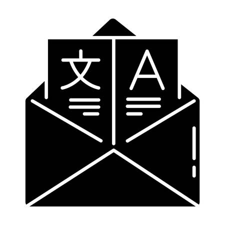 Language translation services glyph icon. International business communication. Email professional translation. illustration Silhouette symbol. Negative space. Vector isolated illustration Illustration