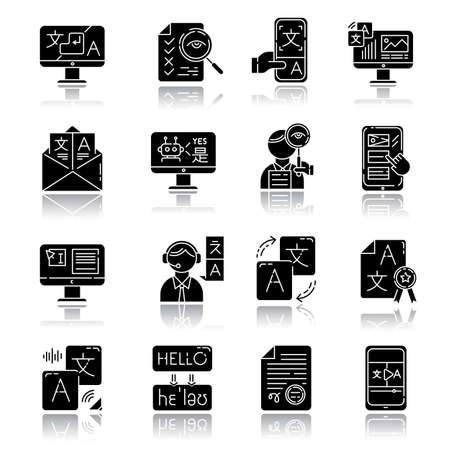 Language translation service drop shadow black glyph icons set. Instant translation. Audio, video interpretation. Multilingual app, chatbot. Transcription, proofreading. Isolated vector illustrations