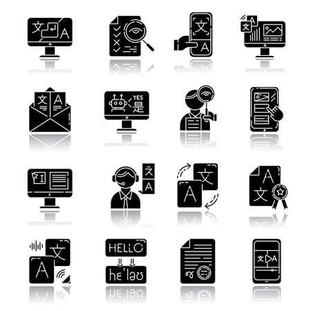 Language translation service drop shadow black glyph icons set. Instant translation. Audio, video interpretation. Multilingual app, chatbot. Transcription, proofreading. Isolated vector illustrations
