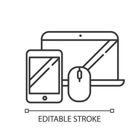 Electronics and accessories chalk linear icon. Smartphone, laptop. E commerce department, online shopping. Thin line illustration. Contour symbol. Vector isolated outline drawing. Editable stroke