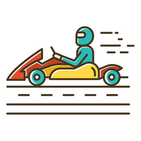 Kart racing color icon. Man in karting vehicle on track. Driver in kart car. Open-wheel motorsport. Recreational go-karting. Extreme sport. Isolated vector illustration