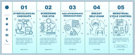 Women healthcare onboarding mobile web pages vector template. Gynecological checkups. Responsive smartphone website interface idea with linear illustrations. Webpage walkthrough step screens concept