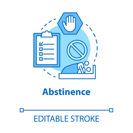 Abstinence concept icon. Safe sex. Intimate relationship. Risk prevention in sexlife. Male, female healthcare idea thin line illustration. Vector isolated outline drawing. Editable stroke