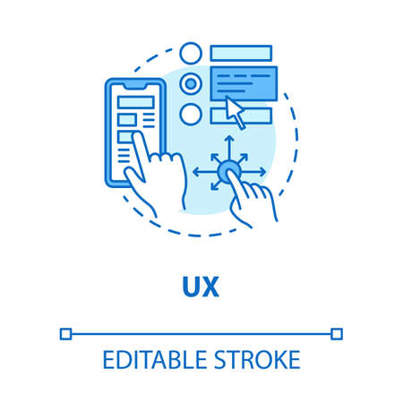 UX concept icon. Software development tools idea thin line illustration. Graphic interface for better user experience. Mobile device app programming. Vector isolated outline drawing. Editable stroke
