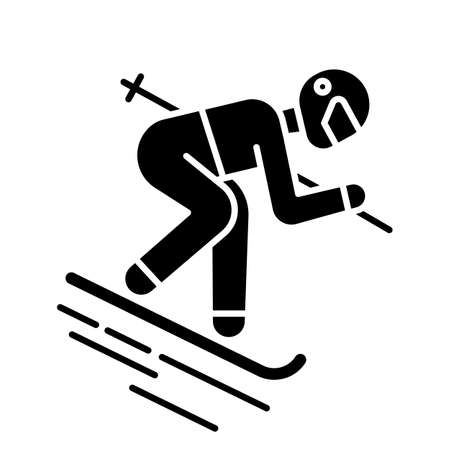 Skiing glyph icon. Winter extreme sport, risky activity and adventure. Cold seasonal outdoor dangerous leisure and hobby. Silhouette symbol. Negative space. Vector isolated illustration