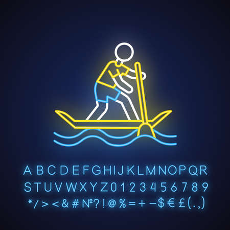 Paddle surfing neon light icon. Sup boarding watersport, extreme underwater kind of sport. Recreational outdoor activity. Glowing sign with alphabet, numbers and symbols. Vector isolated illustration
