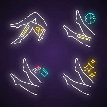 Leg waxing neon light icons set. Shin hair removal with natural cold, hot wax process. Female body depilation steps. Professional beauty treatment at home. Glowing signs. Vector isolated illustrations Illusztráció