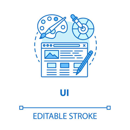 UI concept icon. Software interface development idea thin line illustration. Designing mobile app graphics for user experience. Website builder. Vector isolated outline drawing. Editable stroke