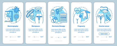 Women healthcare onboarding mobile app page screen vector template. Pregnancy, ovarian cancer, menopause. Walkthrough website steps with linear icons UX, UI, GUI turquoise smartphone interface concept