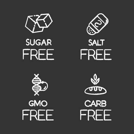 제품 무료 성분 분필 아이콘을 설정합니다. 설탕, 소금, gmo, 탄수화물 없음. 유기농 식품. 조미료, 단맛을 들이지 않은 식사. 알레르겐과 감미료가없는식이 요법. 격리 된 벡터 칠판 그림 벡터 (일러스트)