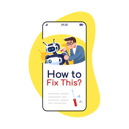 How to fix this social media posts smartphone app screen. Mobile phone display with cartoon characters design mockup. Repairing instructions. Troubleshooting guide application telephone interface Ilustração