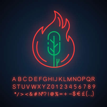 Wildfire neon light icon. Burning tree. Natural disaster. Ecological problem. Human negligence, arson in forest. Glowing sign with alphabet, numbers and symbols. Vector isolated illustration
