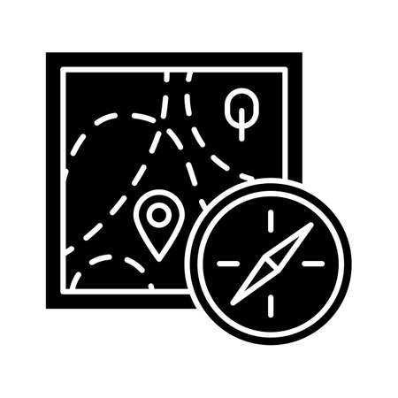 Foot orienteering glyph icon. Topographical map and compass. Navigating in unfamiliar terrain. Navigation equipment. Hiking, tracking. Silhouette symbol. Negative space. Vector isolated illustration 向量圖像