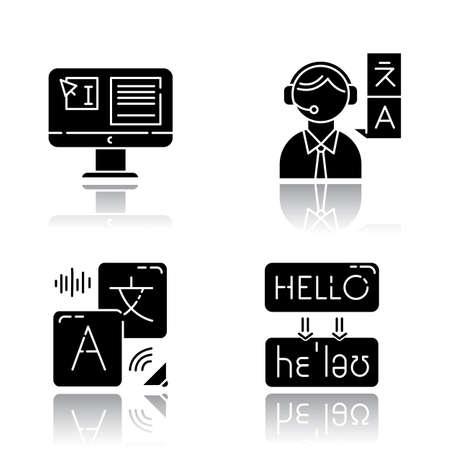Language translation drop shadow black glyph icons set. DTP service. Text editing. Human interpretation. Transcription. Instant audio online translation. Quality control. Isolated vector illustrations