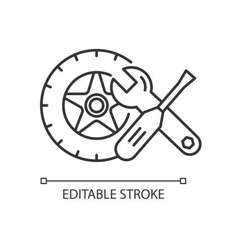 Auto parts linear icon. Repair service maintenance. E commerce department, online shopping categories. Thin line illustration. Contour symbol. Vector isolated outline drawing. Editable stroke