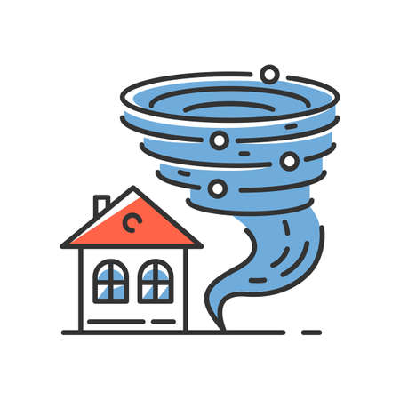 Tornado blue color icon. Twister spiral funnel approaching house. Cyclone dangerous for building. Extreme weather condition. Destructive hurricane. Storm. Typhoon. Isolated vector illustration
