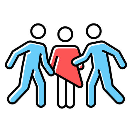 Gang rape red color icon. Woman abuse. Violent, aggressive behavior of rapist. Sexual harassment of female by group. Victim of assault. Unwanted sexual activity. Isolated vector illustration