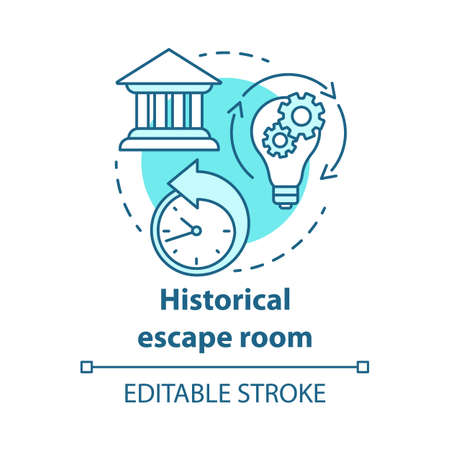 Historical escape room concept icon. Theme quest idea thin line illustration. History subject. Back in time. Game about past, medieval, ancient times. Vector isolated outline drawing. Editable stroke