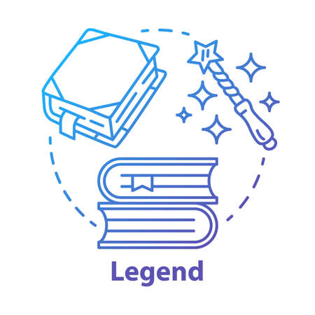 Legend blue gradient concept icon. Storytelling idea thin line illustration. Fables, fiction, myths with magic literature elements. Fairy tales, fantasy books. Vector isolated outline drawing