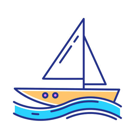 Sailing color icon. Watersport, extreme kind of sport. Yachting, swimming and navigation. Voyage, boat on ocean waves. Summer vacation activity and hobby. Isolated vector illustration