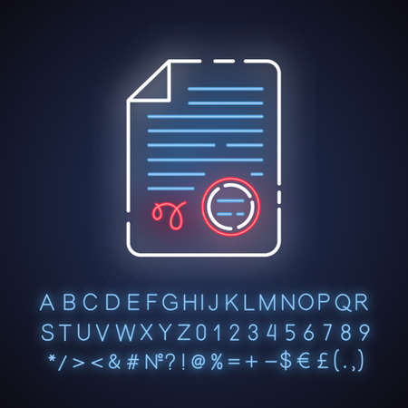 Apostilles and document legalization services neon light icon. Legal validation. Notarized document. Translator license. Glowing sign with alphabet, numbers and symbols. Vector isolated illustration Illustration