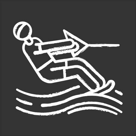 Water skiing chalk icon. Surface watersport. Summer leisure and dangerous hobby. Extreme kind of sport. Recreational outdoor activity. Man wakeboarding. Isolated vector chalkboard illustration Illustration