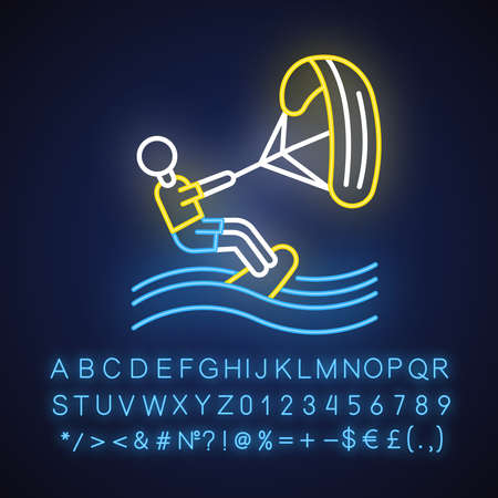 Kiteboarding neon light icon. Watersport, extreme kind of sport. Summer beach activity. Catching wave and power of wind. Glowing sign with alphabet, numbers and symbols. Vector isolated illustration