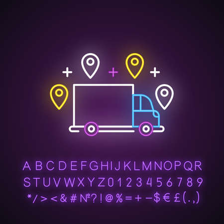 Delivery option neon light icon. Online order tracking. Shipping truck with location marks. Logistics and distribution. Glowing sign with alphabet, numbers and symbols. Vector isolated illustration Illustration