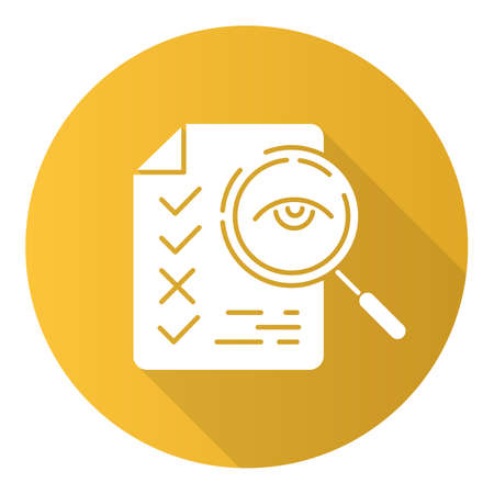 Professional proofreading service flat design long shadow glyph icon. Text editing, mistake correction. Document quality control. Magnifier with checked list points. Vector silhouette illustration Çizim
