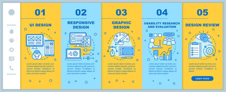 UI design development onboarding mobile web pages vector template. Responsive smartphone website interface idea with linear illustrations. Webpage walkthrough step screens. Color concept