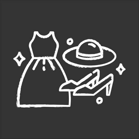Women fashion icon. Different luxury clothes and accessories. Female clothing and shoes. Apparel details. E commerce department, online shopping categories. Isolated vector chalkboard illustration