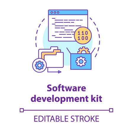 Software development kit concept icon. Tools for coding idea thin line illustration. Mobile device programming. Application management. Vector isolated outline drawing. Editable stroke