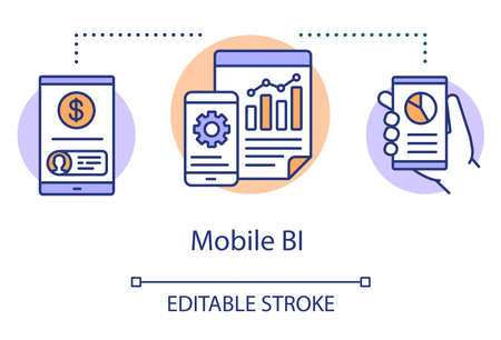 Mobile BI concept icon. Software programming idea thin line illustration. Application performance management. Business intelligence. Vector isolated outline drawing. Editable stroke Vector Illustration