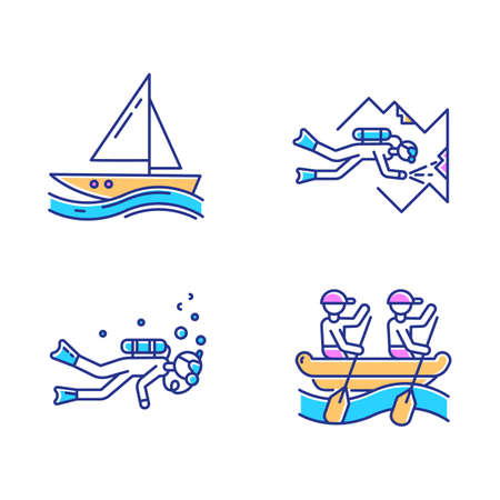 Watersports color icons set. Cave diving, sailing and rafting. Extreme kinds of sport. Summer vacation, adventure and hobby, beach activities. Diving with scuba gear. Isolated vector illustrations