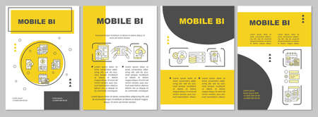 Mobile BI brochure template. Flyer, booklet, leaflet print, cover design, linear illustrations. Business Intelligence. Vector page layouts for magazines, annual reports, advertising posters
