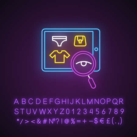 Search product neon light icon. Client doing purchases in internet store. Searching goods in online shop. Consumerism. Glowing sign with alphabet, numbers, symbols. Vector isolated illustration