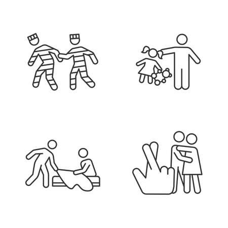 Different rape types linear icons set. Prison, statutory, children, spousal rape. Sexual harassment. Sexual assault. Thin line contour symbols. Isolated vector outline illustrations. Editable stroke Çizim