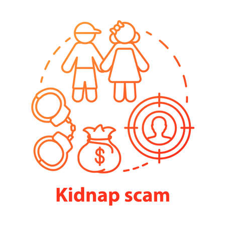 Kidnap scam concept icon. Children abduction. Demanding ransom. Money fraud. Criminal business. Searching for kidnapper idea thin line illustration. Vector isolated outline drawing