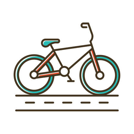 Track cycling color icon. Bicycle on cycle lane, bike path. Time trialling. Roadway for cyclists. Bicycle racing. Cycling route. City cruiser. Extreme sport. Isolated vector illustration
