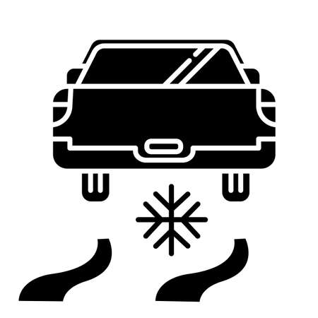 Ice driving glyph icon. Winter extreme sport, risky activity and adventure. Cold season outdoor dangerous leisure. Automobile riding on snow covered surface. Vector isolated illustration
