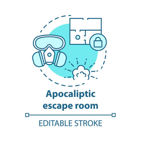 Apocalyptic escape room concept icon. Disaster theme quest idea thin line illustration. Nuclear war strategy game. Post apocalyptic survival. Vector isolated outline drawing. Editable stroke