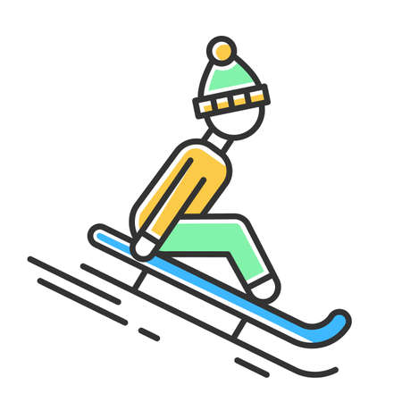 Sledding color icon. Winter extreme sport, risky activity and adventure. Sleigh riding. Cold season outdoor leisure for children and adults. Person sledging. Isolated vector illustration