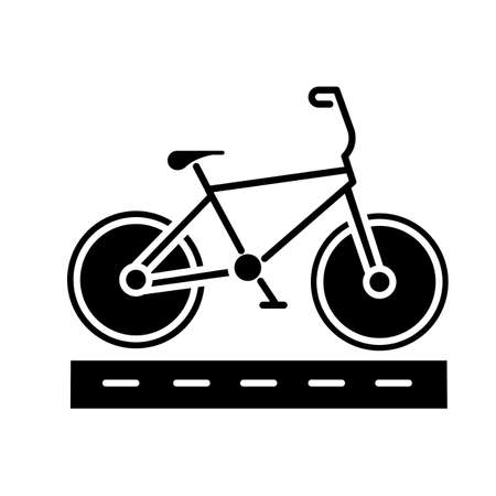 Track cycling glyph icon. Bicycle on cycle lane, bike path. Time trialling. Roadway for cyclists. Bicycle racing. City cruiser. Silhouette symbol. Negative space. Vector isolated illustration