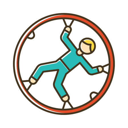 Zorbing color icon. Globe-riding, orbing. Person in transparent non-harnessed orb. Human rolling inside giant sphere. Extreme sport. Isolated vector illustration