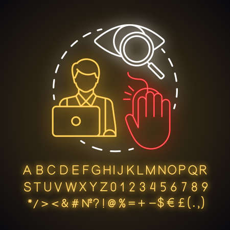 Search online neon light concept icon. Searching for information on Internet. Secretary, assistant. Work at computer idea. Glowing sign with alphabet, numbers and symbols. Vector isolated illustration