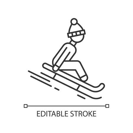 Sledding linear icon. Thin line illustration. Winter extreme sport, risky activity and adventure. Sleigh riding. Cold season leisure. Contour symbol. Vector isolated outline drawing. Editable stroke Illustration